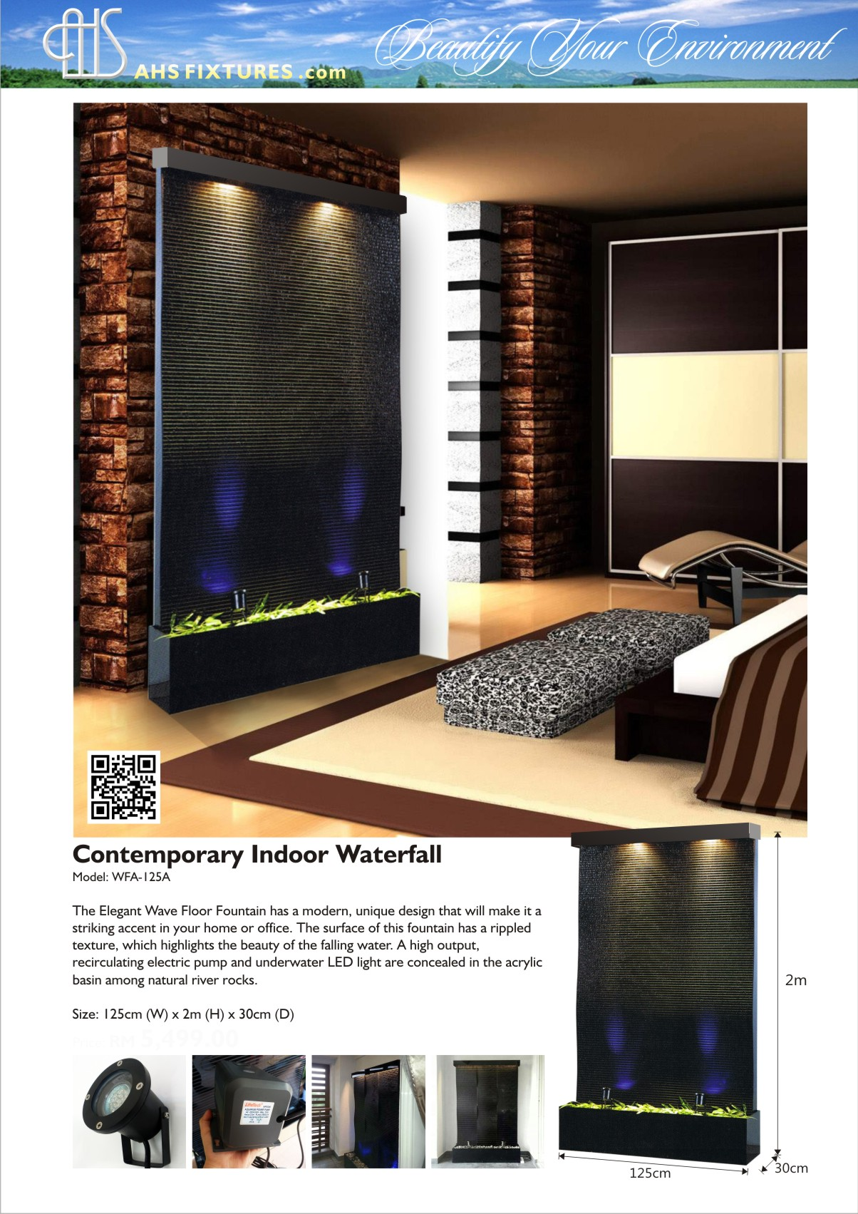 WFA-125-A Contemporary Indoor Watefall Floor Fountain