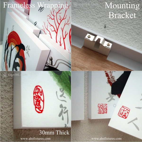 Home Sweet Home Oriental Calligraphy Combination Art Decorative Frameless Painting 家和福顺 Calligraphy-Details