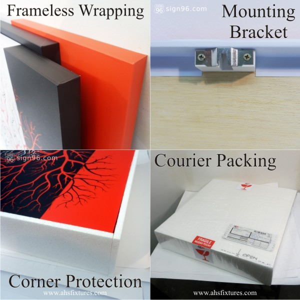 Modern Abstract Frameless Painting Wrapping Mounting Bracket Corner Protection & Courier Packing