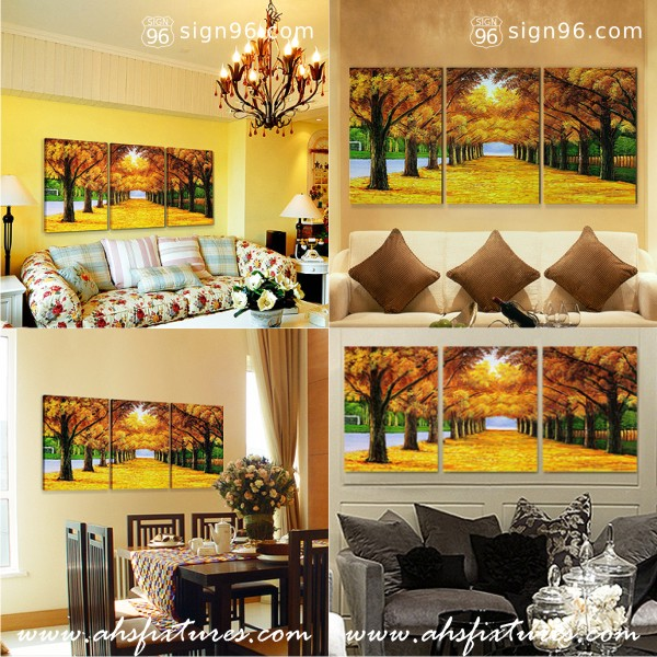 Stylish Wall Decorations - Abstract Frameless Painting - Autrum Trees Painting - Autrum Avenue for Interior Decoration