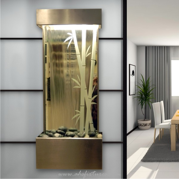 Bamboo Glass Mirror Wall Mounted Fountain