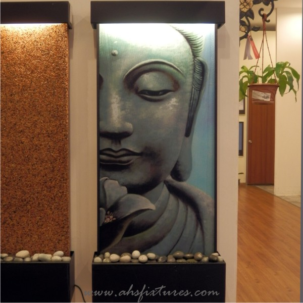 Buddha Face Laminated Imprint Textured Glass Wall Fountain Water Feature