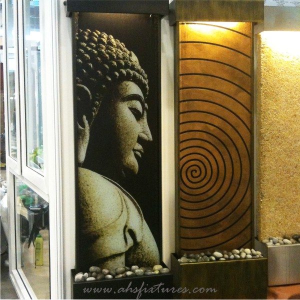 Buddha Good Feng Shui Laminated Imprint Textured Glass Wall Fountain Water Feature